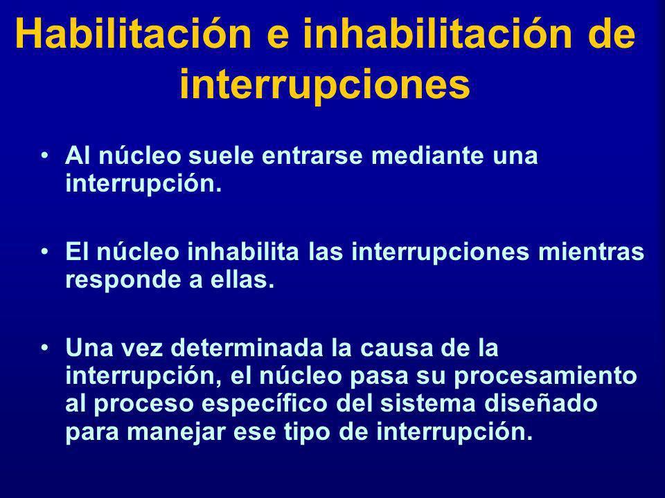 Habilitación e inhabilitación de interrupciones Al núcleo suele entrarse mediante una interrupción. El núcleo inhabilita las interrupciones mientras r
