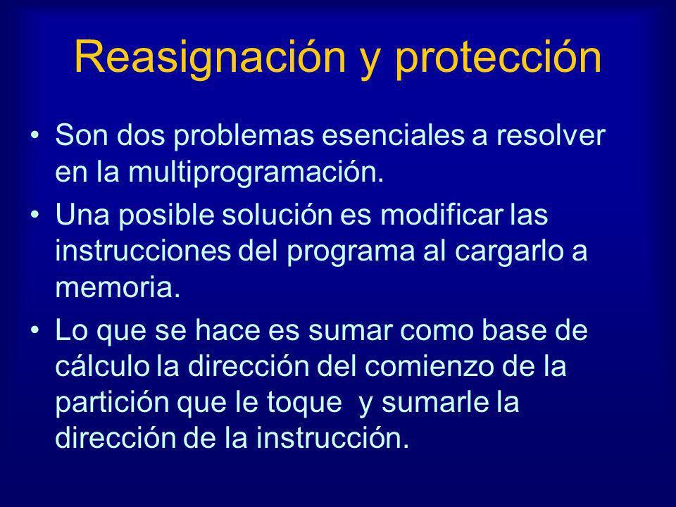 Reasignación y protección Son dos problemas esenciales a resolver en la multiprogramación. Una posible solución es modificar las instrucciones del pro