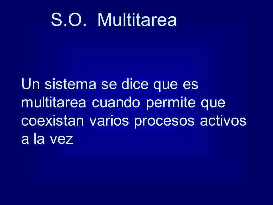 S.O. Multitarea Un sistema se dice que es multitarea cuando permite que coexistan varios procesos activos a la vez