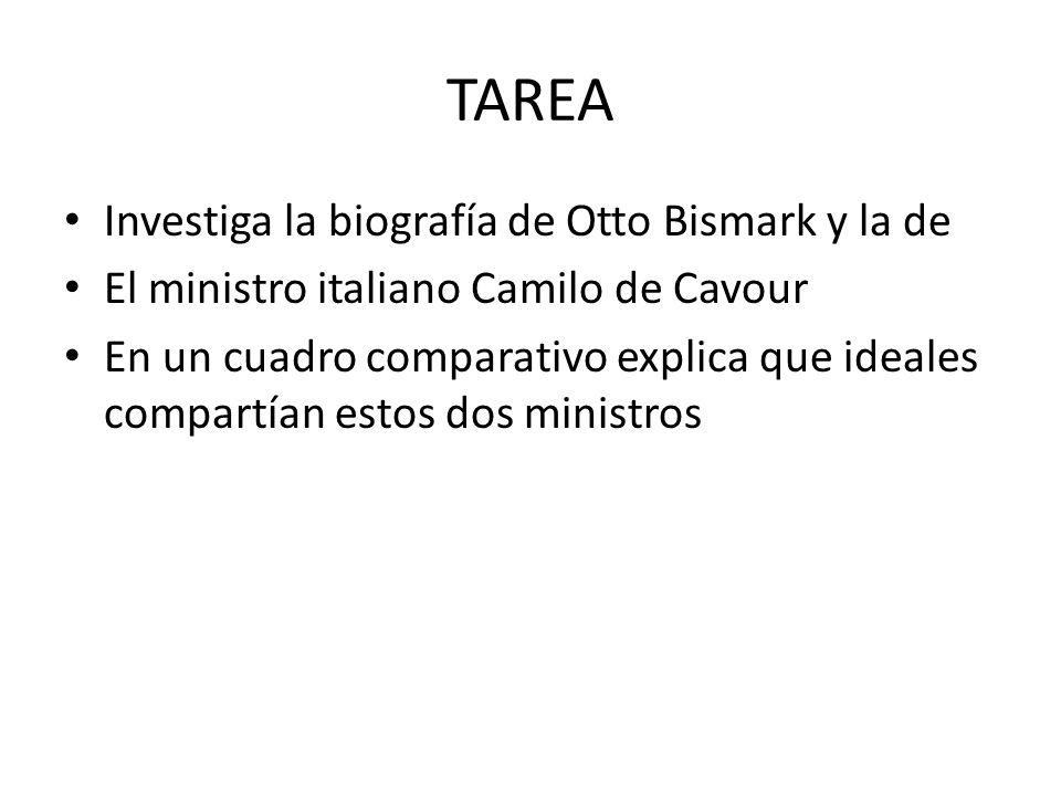 TAREA Investiga la biografía de Otto Bismark y la de El ministro italiano Camilo de Cavour En un cuadro comparativo explica que ideales compartían est