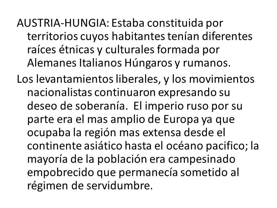 AUSTRIA-HUNGIA: Estaba constituida por territorios cuyos habitantes tenían diferentes raíces étnicas y culturales formada por Alemanes Italianos Húnga