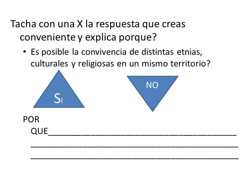 Tacha con una X la respuesta que creas conveniente y explica porque? Es posible la convivencia de distintas etnias, culturales y religiosas en un mism