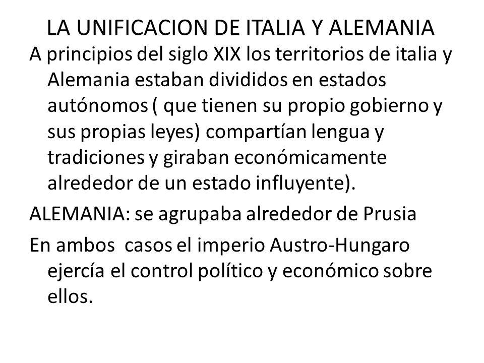 LA UNIFICACION DE ITALIA Y ALEMANIA A principios del siglo XIX los territorios de italia y Alemania estaban divididos en estados autónomos ( que tiene