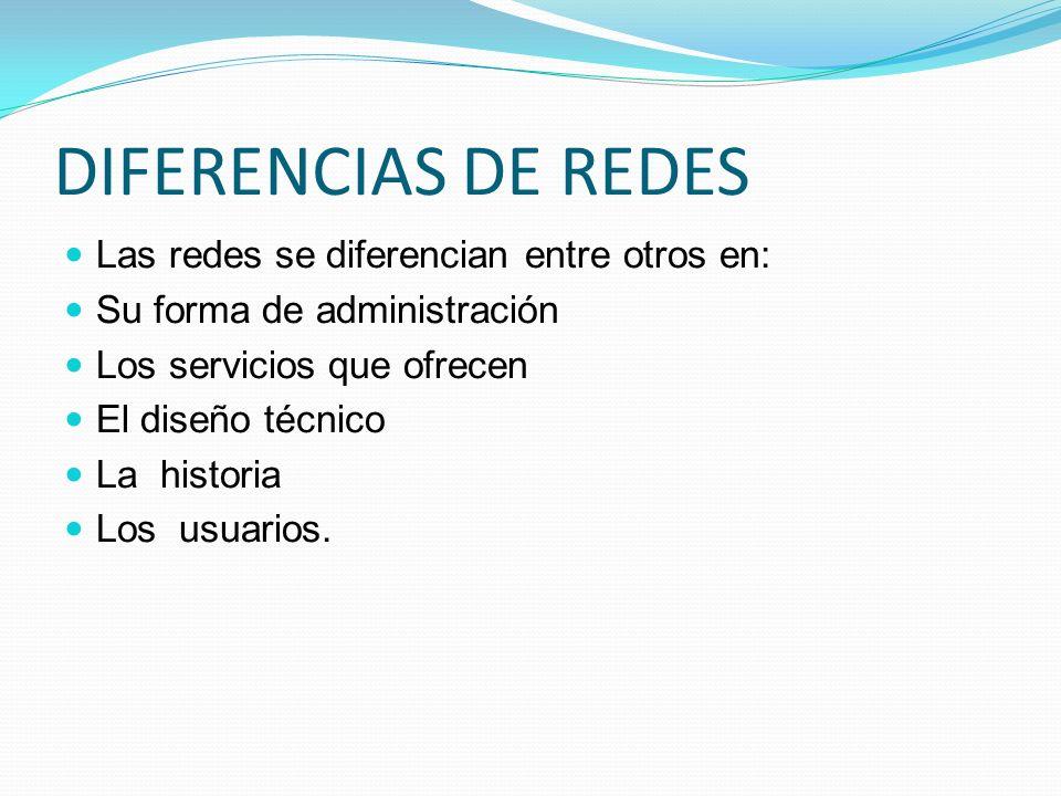 DIFERENCIAS DE REDES Las redes se diferencian entre otros en: Su forma de administración Los servicios que ofrecen El diseño técnico La historia Los u