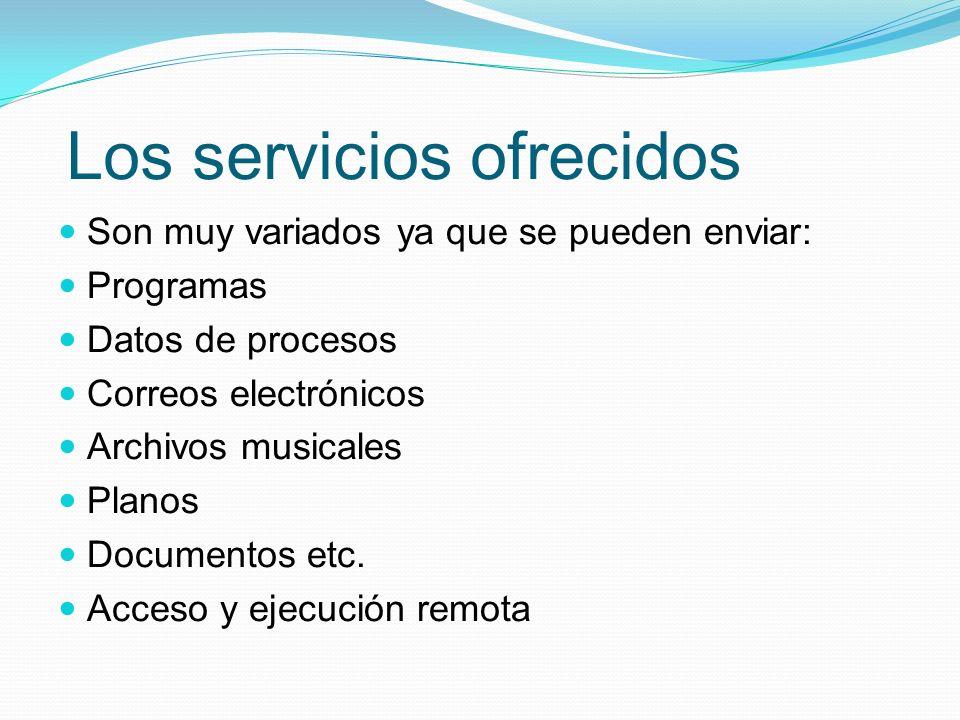 Los servicios ofrecidos Son muy variados ya que se pueden enviar: Programas Datos de procesos Correos electrónicos Archivos musicales Planos Documento