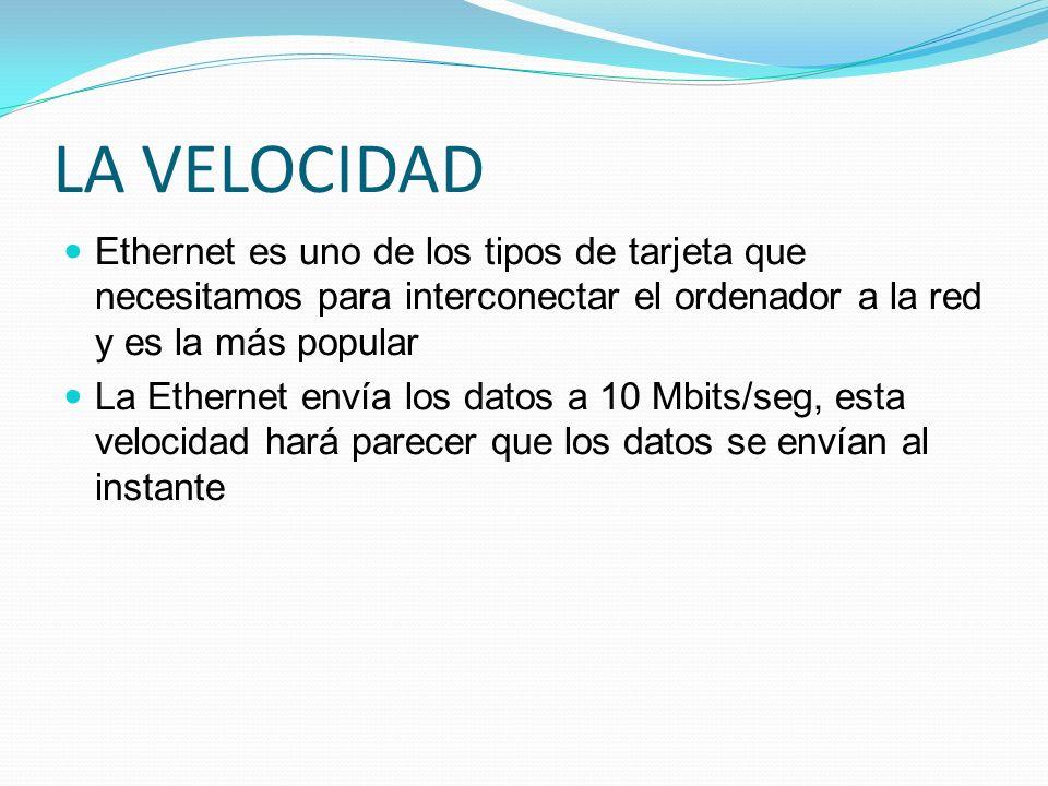 LA VELOCIDAD Ethernet es uno de los tipos de tarjeta que necesitamos para interconectar el ordenador a la red y es la más popular La Ethernet envía lo
