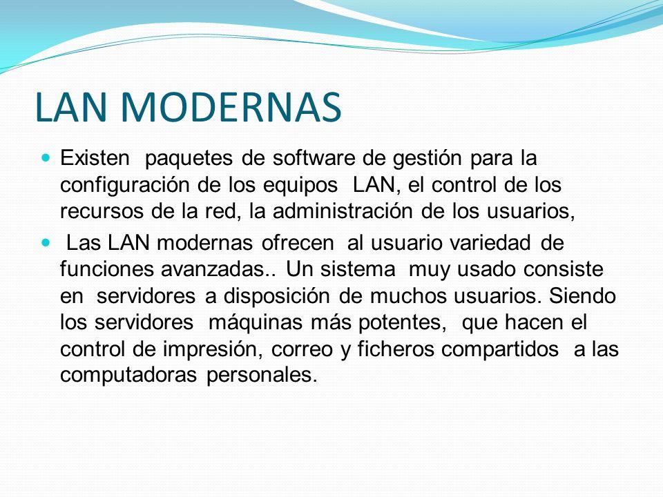 LAN MODERNAS Existen paquetes de software de gestión para la configuración de los equipos LAN, el control de los recursos de la red, la administración