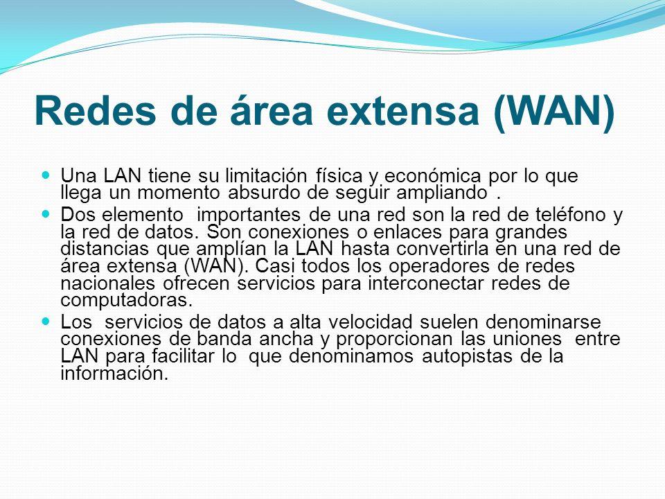 Redes de área extensa (WAN) Una LAN tiene su limitación física y económica por lo que llega un momento absurdo de seguir ampliando. Dos elemento impor