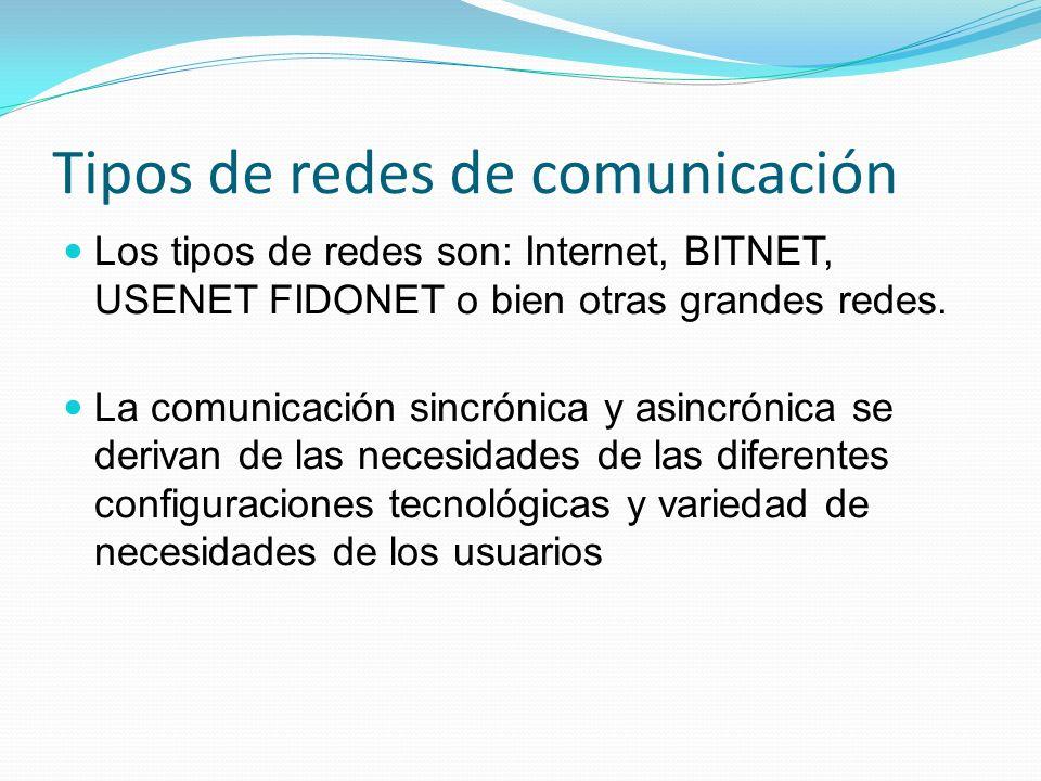 Tipos de redes de comunicación Los tipos de redes son: Internet, BITNET, USENET FIDONET o bien otras grandes redes. La comunicación sincrónica y asinc