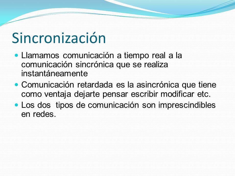 Sincronización Llamamos comunicación a tiempo real a la comunicación sincrónica que se realiza instantáneamente Comunicación retardada es la asincróni