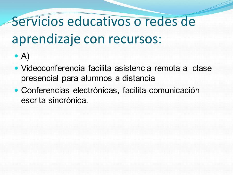 Servicios educativos o redes de aprendizaje con recursos: A) Videoconferencia facilita asistencia remota a clase presencial para alumnos a distancia C