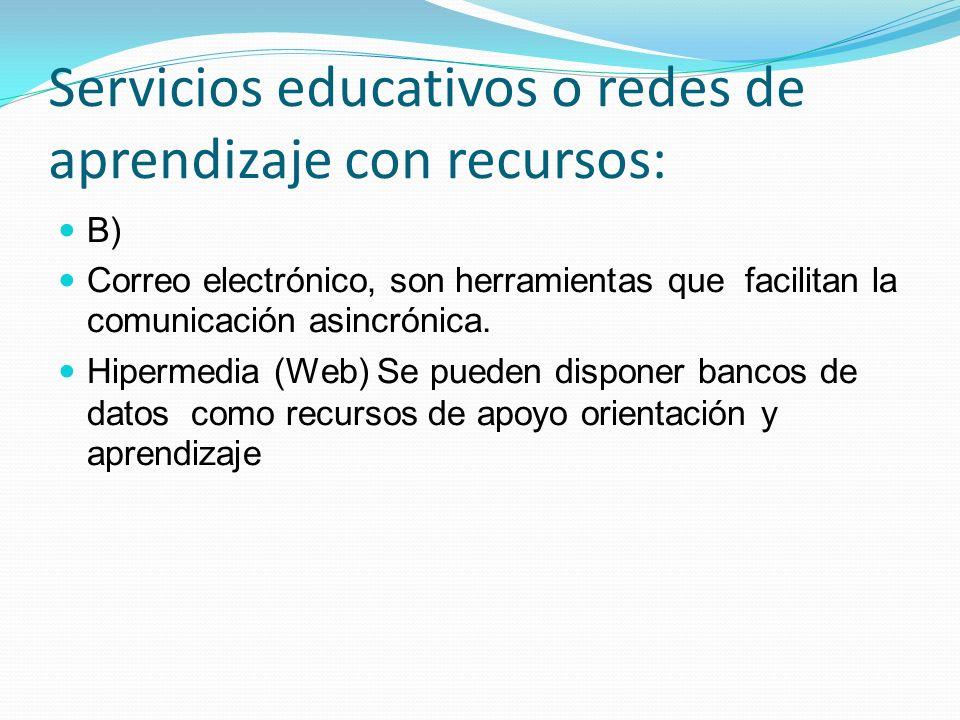Servicios educativos o redes de aprendizaje con recursos: B) Correo electrónico, son herramientas que facilitan la comunicación asincrónica. Hipermedi