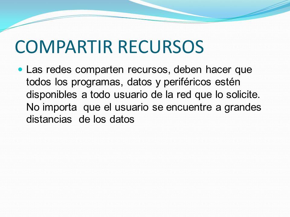 COMPARTIR RECURSOS Las redes comparten recursos, deben hacer que todos los programas, datos y periféricos estén disponibles a todo usuario de la red q