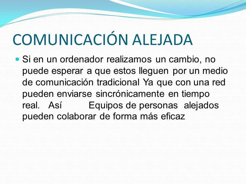COMUNICACIÓN ALEJADA Si en un ordenador realizamos un cambio, no puede esperar a que estos lleguen por un medio de comunicación tradicional Ya que con