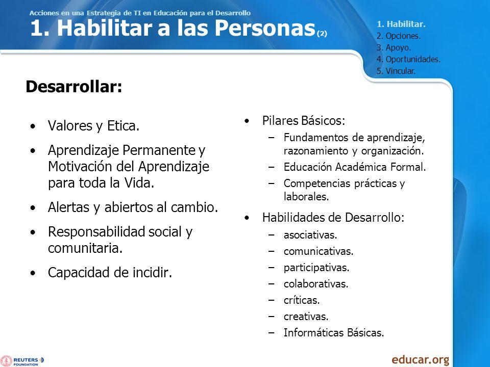 Acciones en una Estrategia de TI en Educación para el Desarrollo 1. Habilitar a las Personas (2) Valores y Etica. Aprendizaje Permanente y Motivación