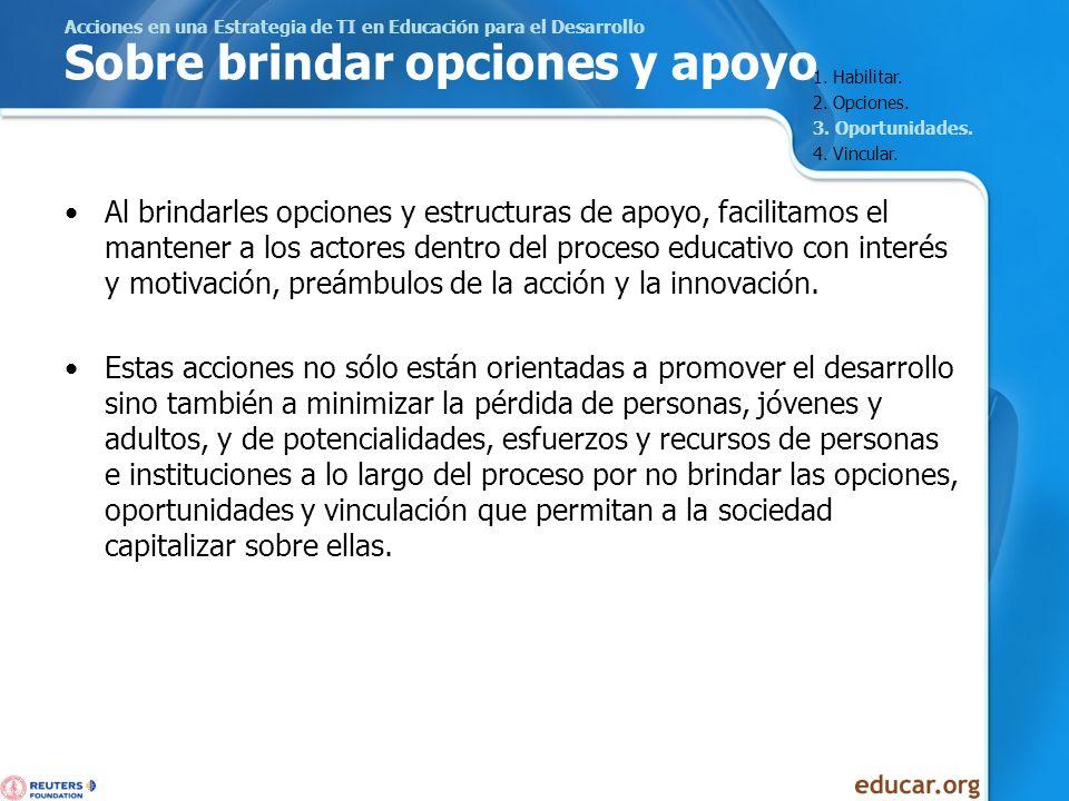 Acciones en una Estrategia de TI en Educación para el Desarrollo Sobre brindar opciones y apoyo Al brindarles opciones y estructuras de apoyo, facilit