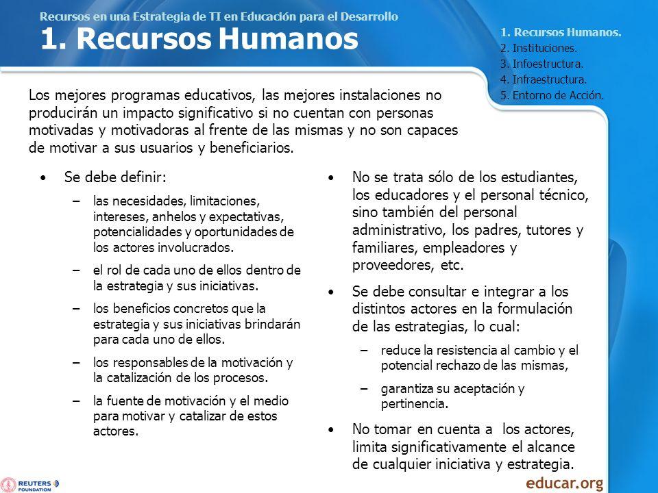 Recursos en una Estrategia de TI en Educación para el Desarrollo 1. Recursos Humanos Se debe definir: –las necesidades, limitaciones, intereses, anhel
