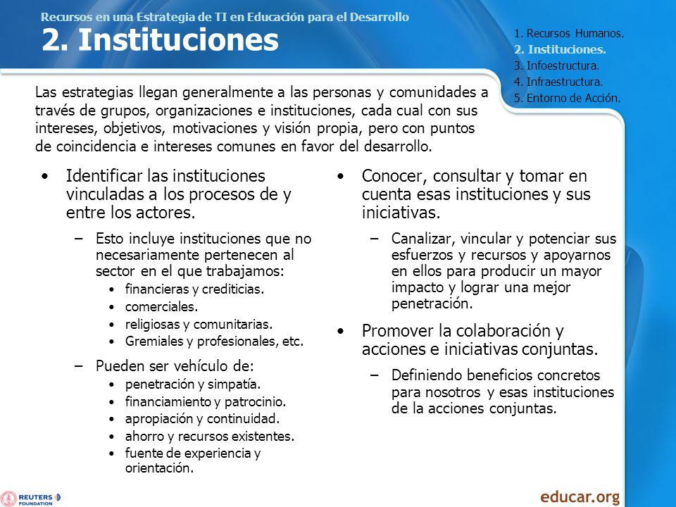 Recursos en una Estrategia de TI en Educación para el Desarrollo 2. Instituciones Identificar las instituciones vinculadas a los procesos de y entre l