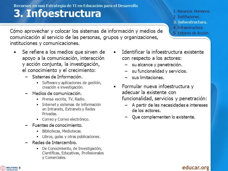 Recursos en una Estrategia de TI en Educación para el Desarrollo 3. Infoestructura Se refiere a los medios que sirven de apoyo a la comunicación, inte