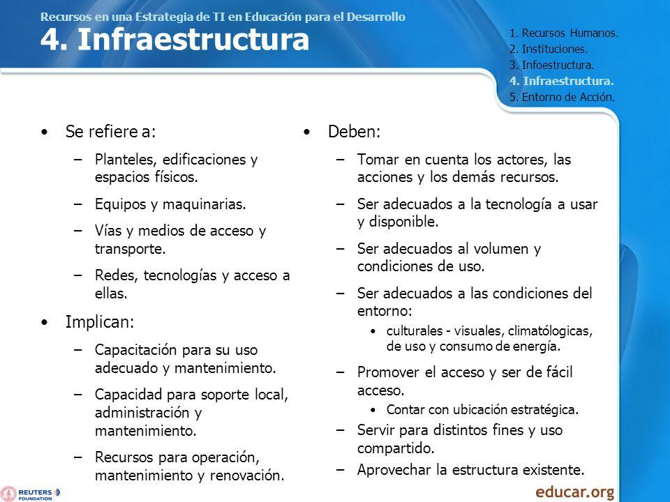 Recursos en una Estrategia de TI en Educación para el Desarrollo 4. Infraestructura Se refiere a: –Planteles, edificaciones y espacios físicos. –Equip