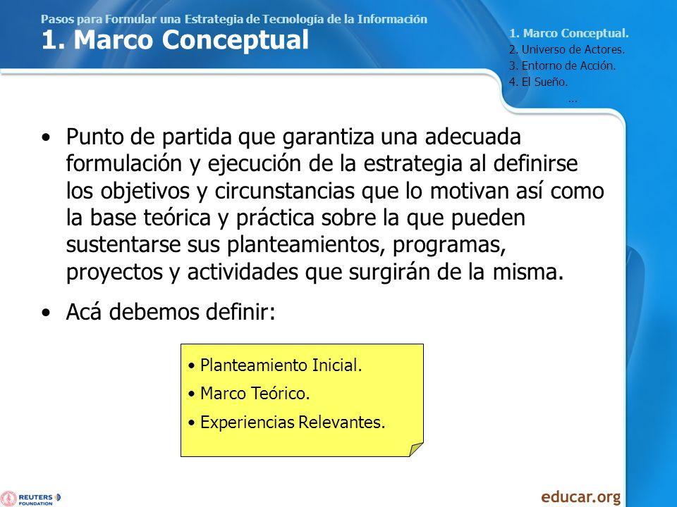 Pasos para Formular una Estrategia de Tecnología de la Información 1. Marco Conceptual Punto de partida que garantiza una adecuada formulación y ejecu