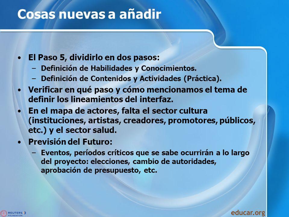 Cosas nuevas a añadir El Paso 5, dividirlo en dos pasos: –Definición de Habilidades y Conocimientos. –Definición de Contenidos y Actividades (Práctica