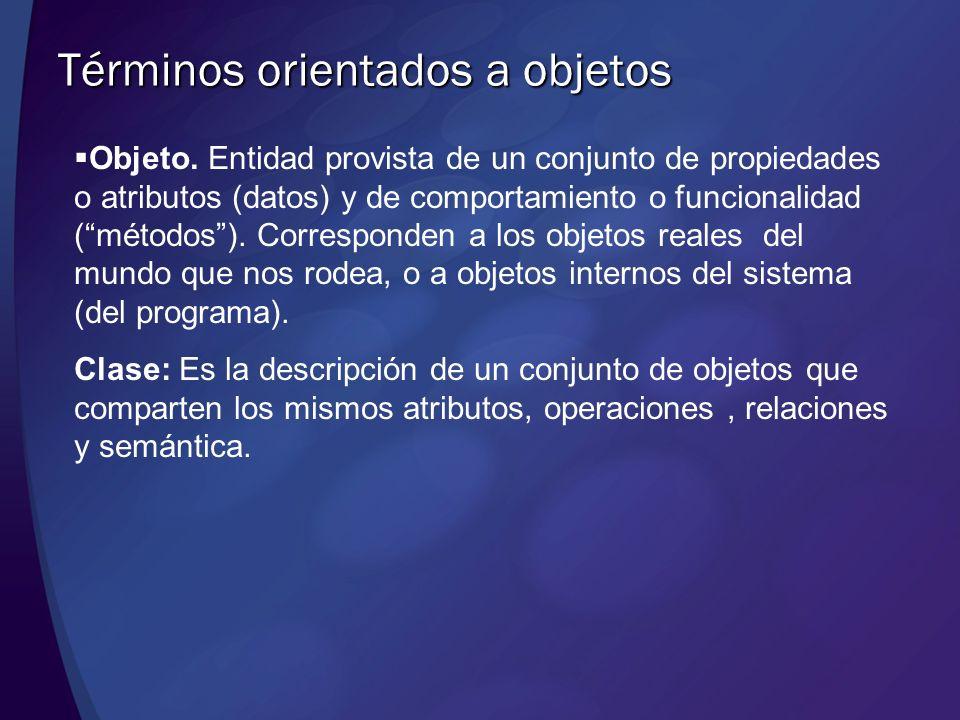 Objeto. Entidad provista de un conjunto de propiedades o atributos (datos) y de comportamiento o funcionalidad (métodos). Corresponden a los objetos r