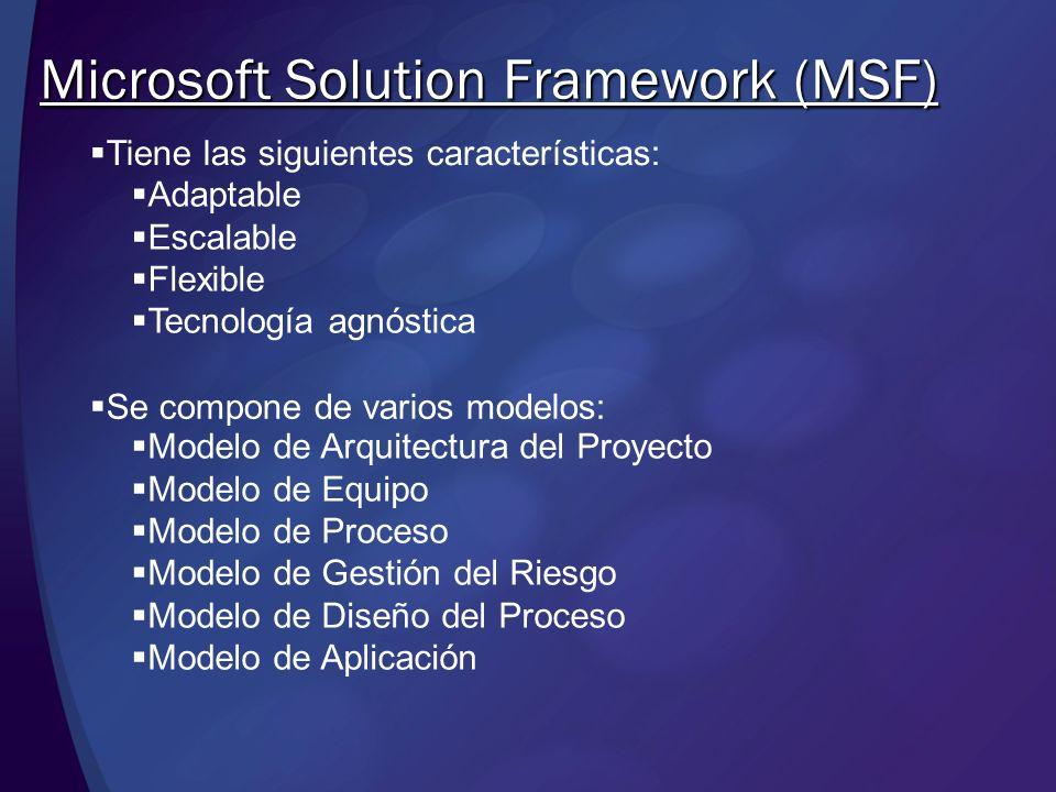 Tiene las siguientes características: Microsoft Solution Framework (MSF) Adaptable Escalable Flexible Tecnología agnóstica Se compone de varios modelo