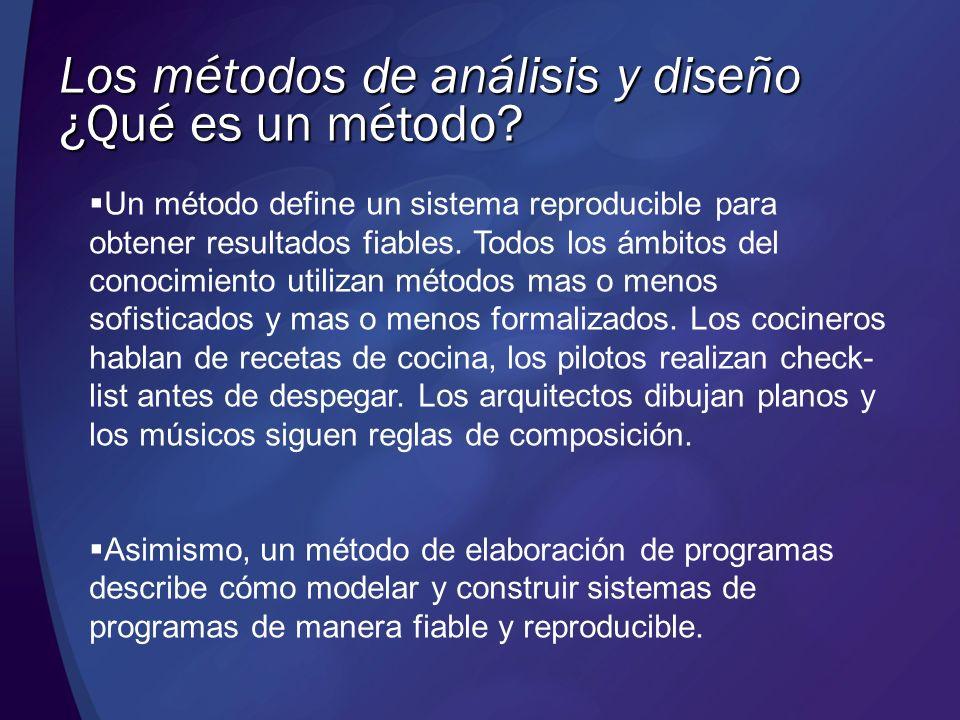 Los métodos de análisis y diseño Un método define un sistema reproducible para obtener resultados fiables. Todos los ámbitos del conocimiento utilizan