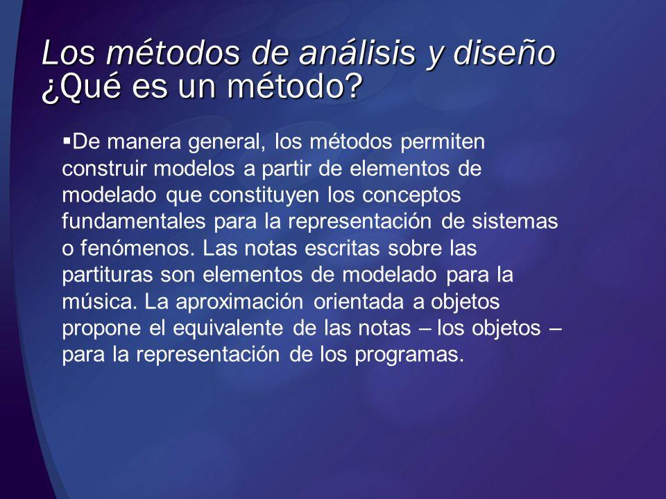 Los métodos de análisis y diseño Los métodos definen también una representación – a menudo gráfica – que permite, por una parte, manipular fácilmente los modelos y, por otra, comunicar e intercambiar la información entre los diferentes interlocutores.