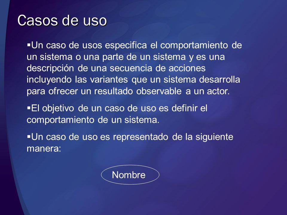 Casos de uso (continuación) Los casos de uso deben de tener un nombre que permita distinguir entre un caso de uso y otro.