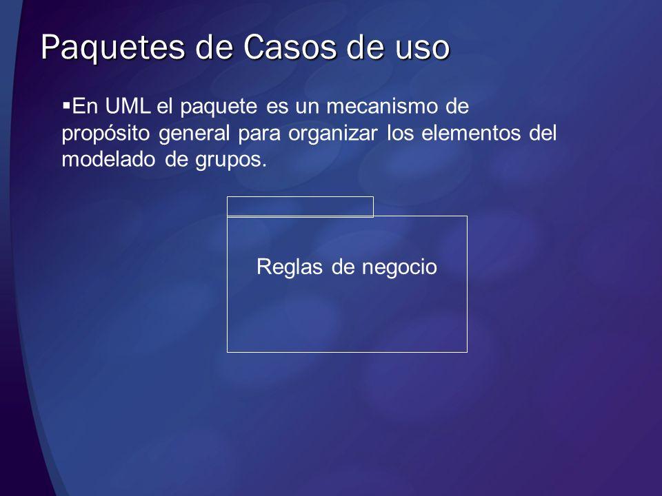 Paquetes de Casos de uso En UML el paquete es un mecanismo de propósito general para organizar los elementos del modelado de grupos. Reglas de negocio