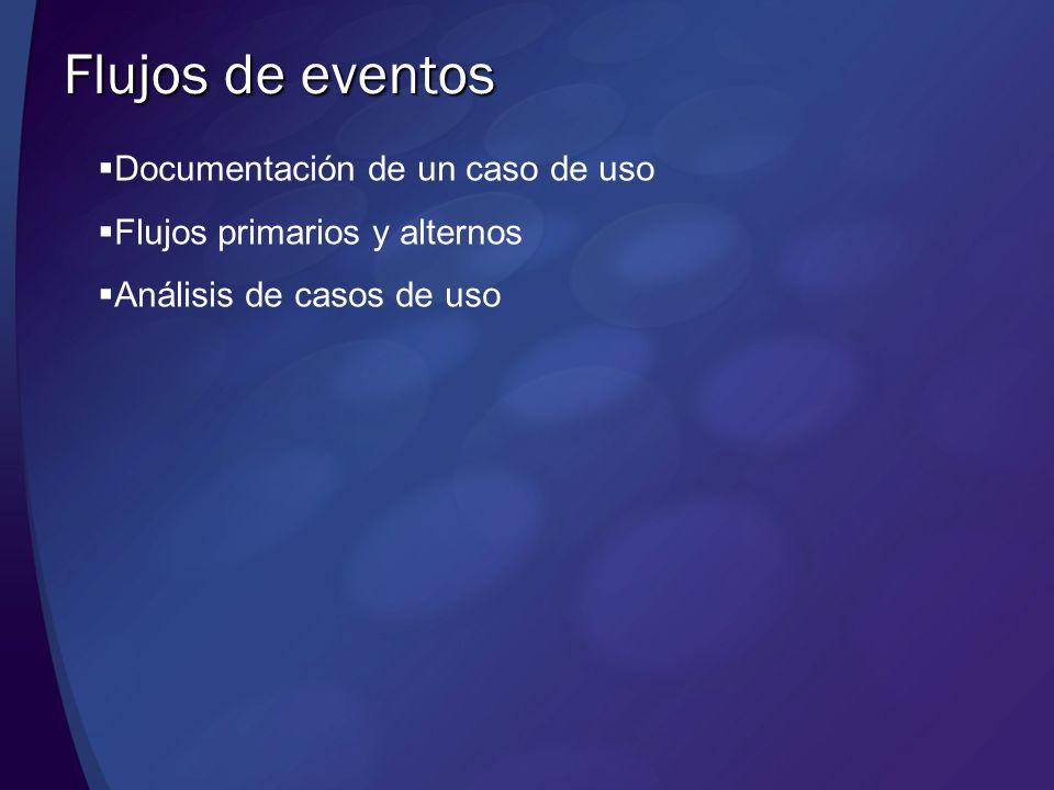 Flujos de eventos Documentación de un caso de uso Flujos primarios y alternos Análisis de casos de uso