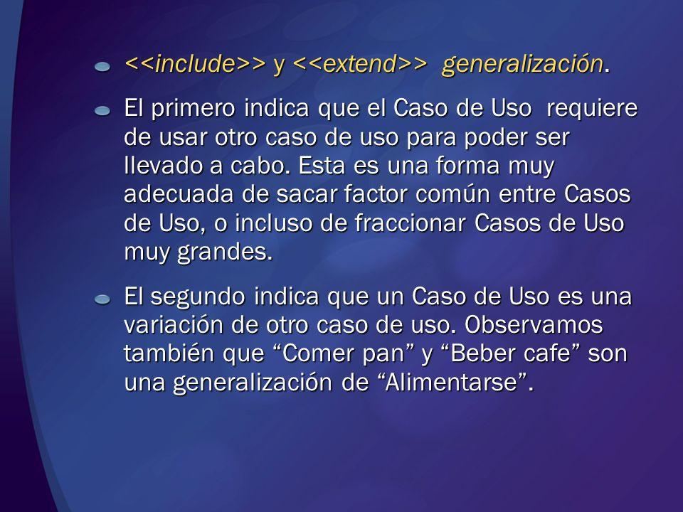 > y > generalización. > y > generalización. El primero indica que el Caso de Uso requiere de usar otro caso de uso para poder ser llevado a cabo. Esta