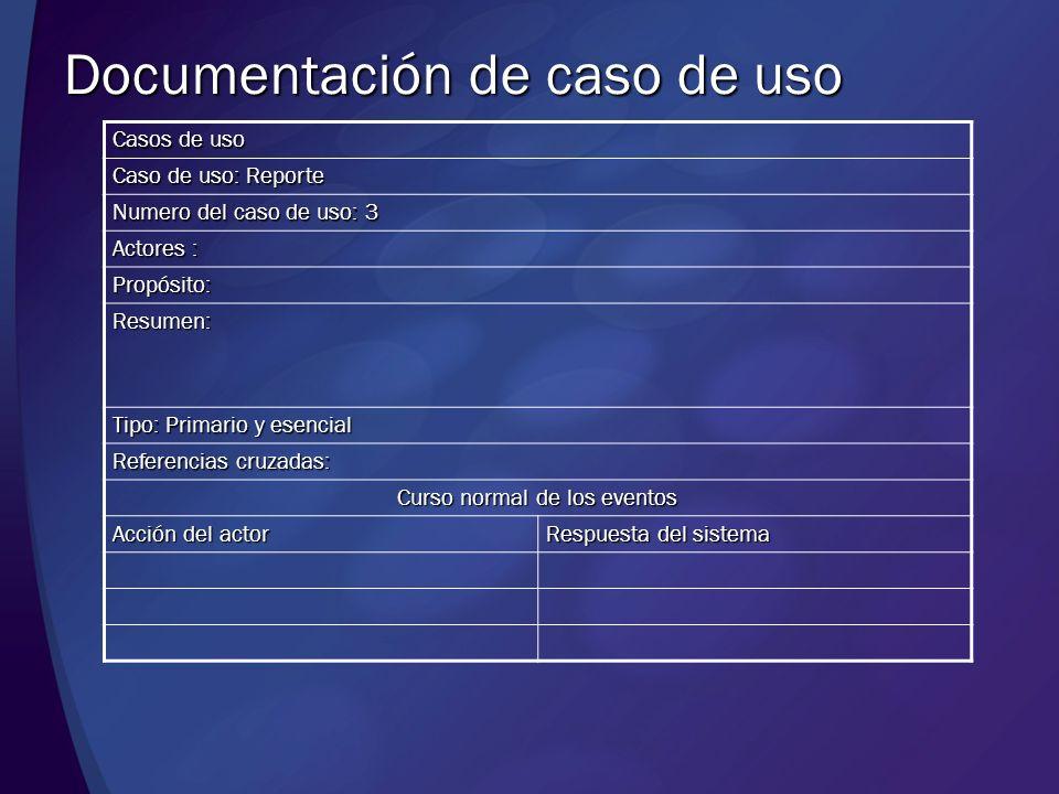 Casos de uso Caso de uso: Reporte Numero del caso de uso: 3 Actores : Propósito: Resumen: Tipo: Primario y esencial Referencias cruzadas: Curso normal