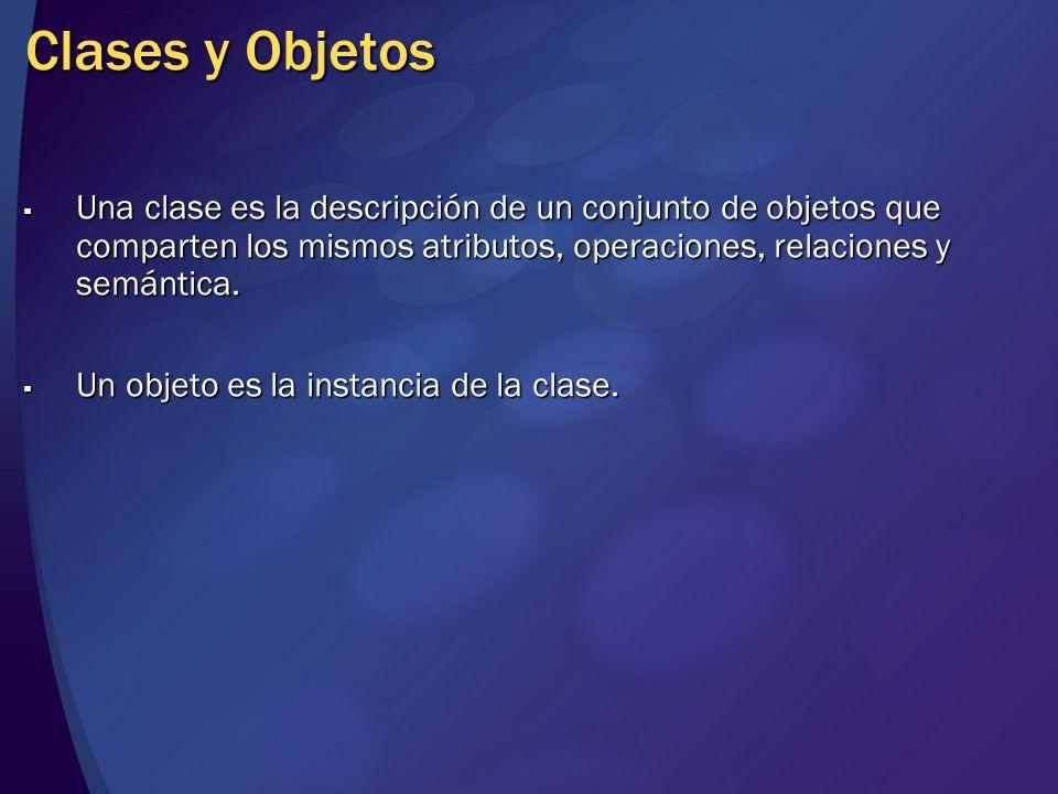 Clases y Objetos Una clase es la descripción de un conjunto de objetos que comparten los mismos atributos, operaciones, relaciones y semántica. Una cl
