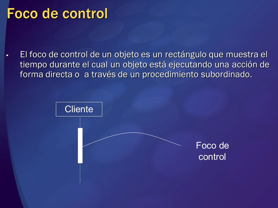 Foco de control El foco de control de un objeto es un rectángulo que muestra el tiempo durante el cual un objeto está ejecutando una acción de forma d