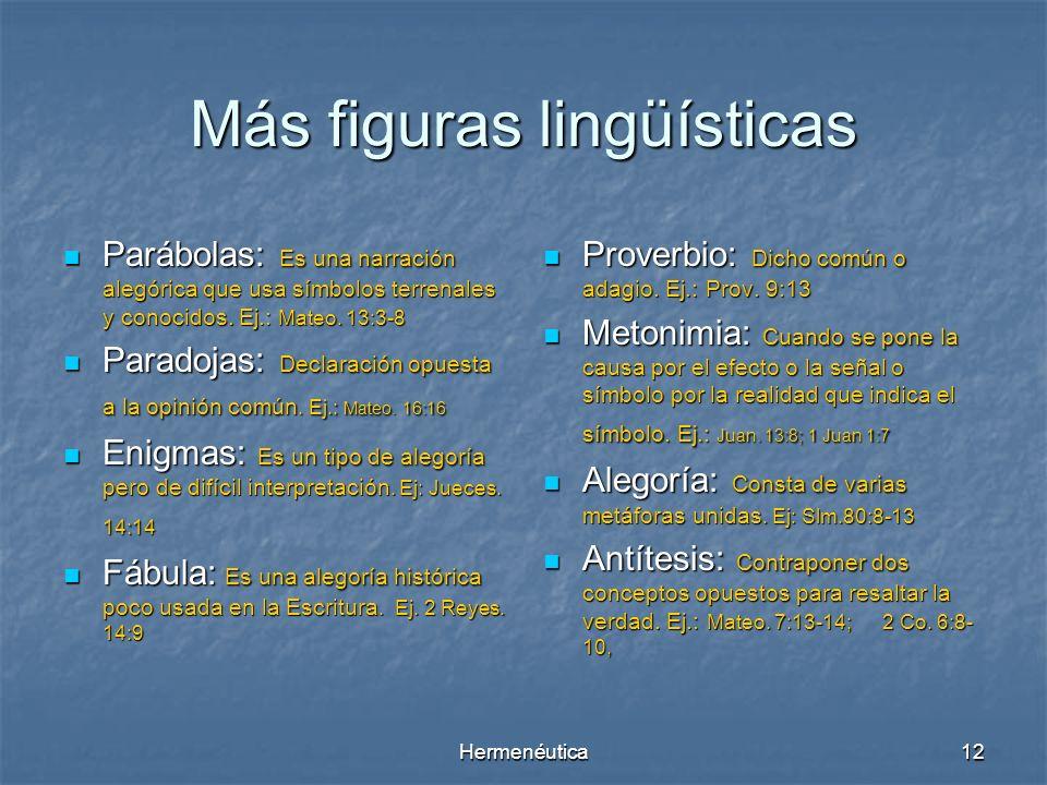 Hermenéutica11 Figuras Lingüísticas en la Biblia : Símil. Es una comparación en la que se usa el adverbio como Ejm. 1 Pd. 1:24 Metáfora. Es una compar