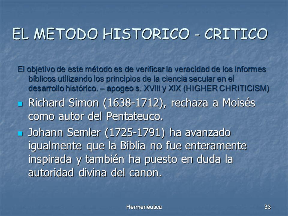 Hermenéutica32 EL METODO HISTORICO GRAMATICAL Histórico – Gramatical: da el sentido literal desechando el alegórico de la Biblia. Histórico – Gramatic