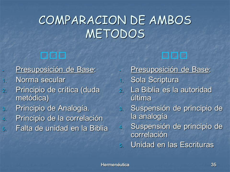 Hermenéutica34 COMPARACION DE AMBOS METODOS - Verificar la veracidad y comprender el sentido del informe bíblico por el proceso de la historia - Obj.