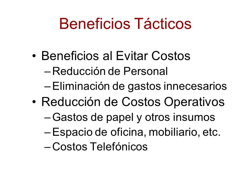 Beneficios Tácticos Beneficios al Evitar Costos –Reducción de Personal –Eliminación de gastos innecesarios Reducción de Costos Operativos –Gastos de p