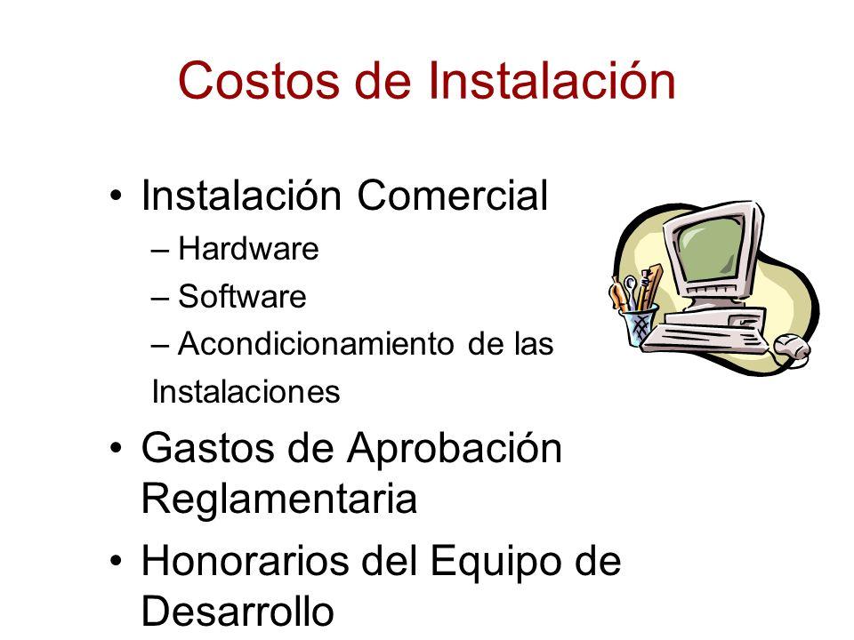 Costos de Instalación Instalación Comercial –Hardware –Software –Acondicionamiento de las Instalaciones Gastos de Aprobación Reglamentaria Honorarios