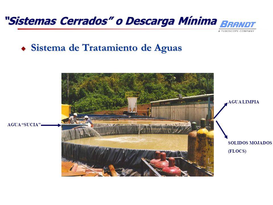 Sistema de Tratamiento de Aguas Sistema de Tratamiento de Aguas AGUA SUCIA AGUA LIMPIA SOLIDOS MOJADOS (FLOCS) Sistemas Cerrados o Descarga Mínima
