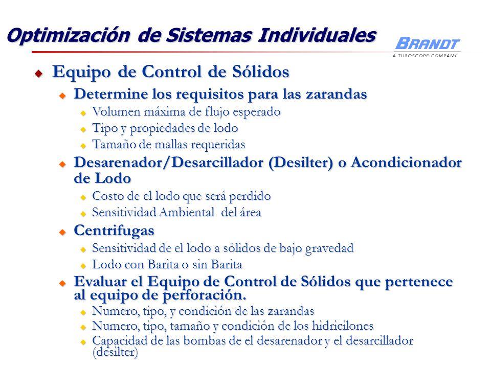 Optimización de Sistemas Individuales Equipo de Control de Sólidos Equipo de Control de Sólidos u Determine los requisitos para las zarandas u Volumen