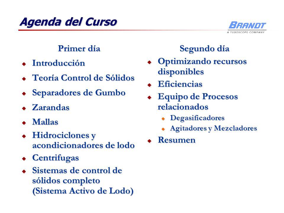 Agenda del Curso Primer día Introducción Introducción Teoría Control de Sólidos Teoría Control de Sólidos Separadores de Gumbo Separadores de Gumbo Za
