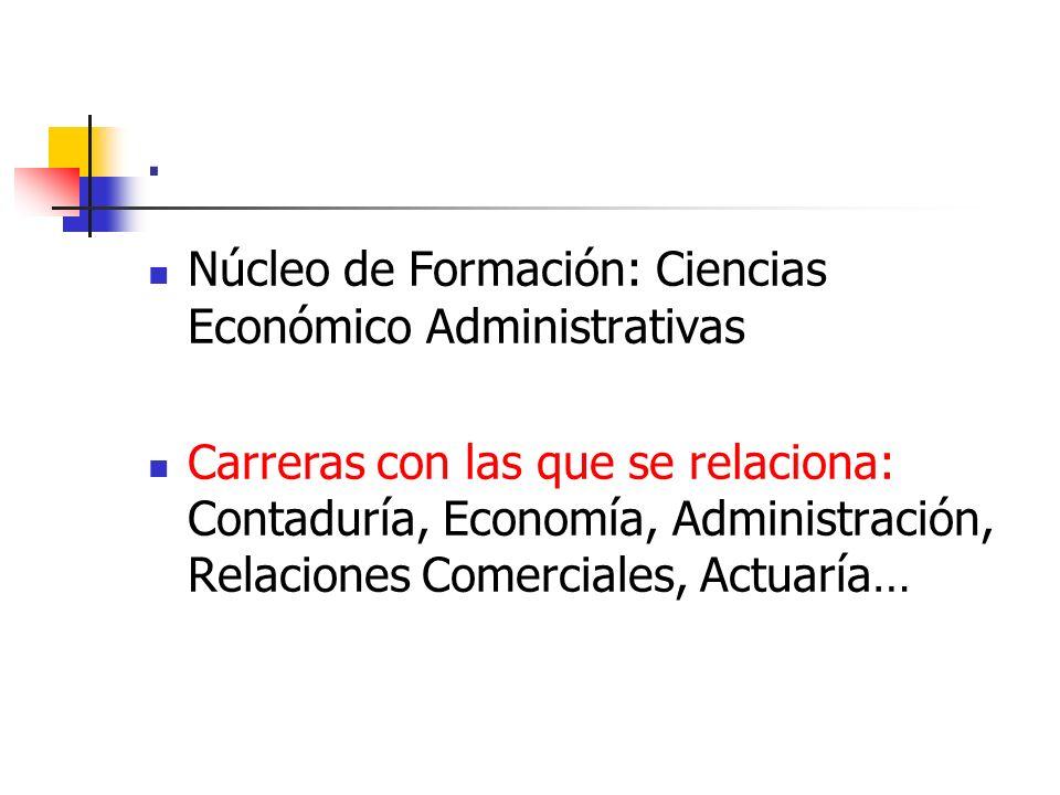 . Núcleo de Formación: Ciencias Económico Administrativas Carreras con las que se relaciona: Contaduría, Economía, Administración, Relaciones Comercia