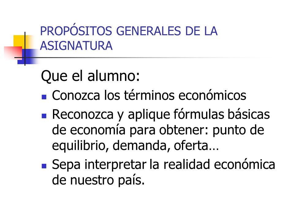 PROPÓSITOS GENERALES DE LA ASIGNATURA Que el alumno: Conozca los términos económicos Reconozca y aplique fórmulas básicas de economía para obtener: pu