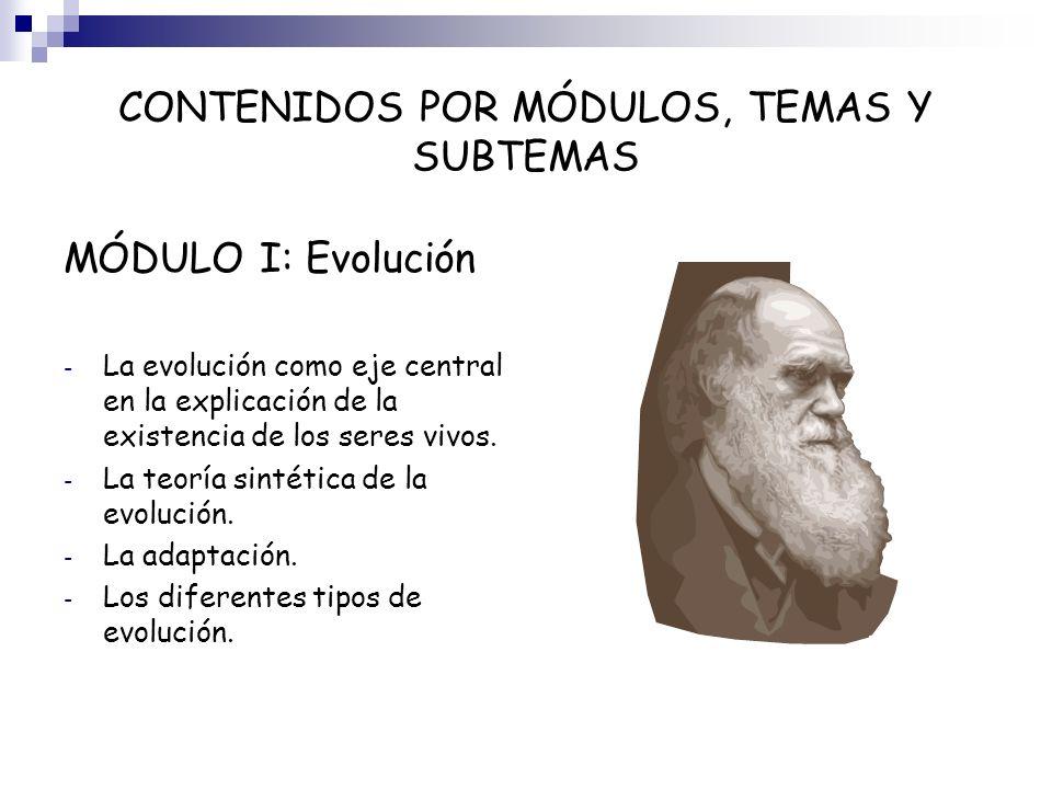 CONTENIDOS POR MÓDULOS, TEMAS Y SUBTEMAS MÓDULO I: Evolución - La evolución como eje central en la explicación de la existencia de los seres vivos. -