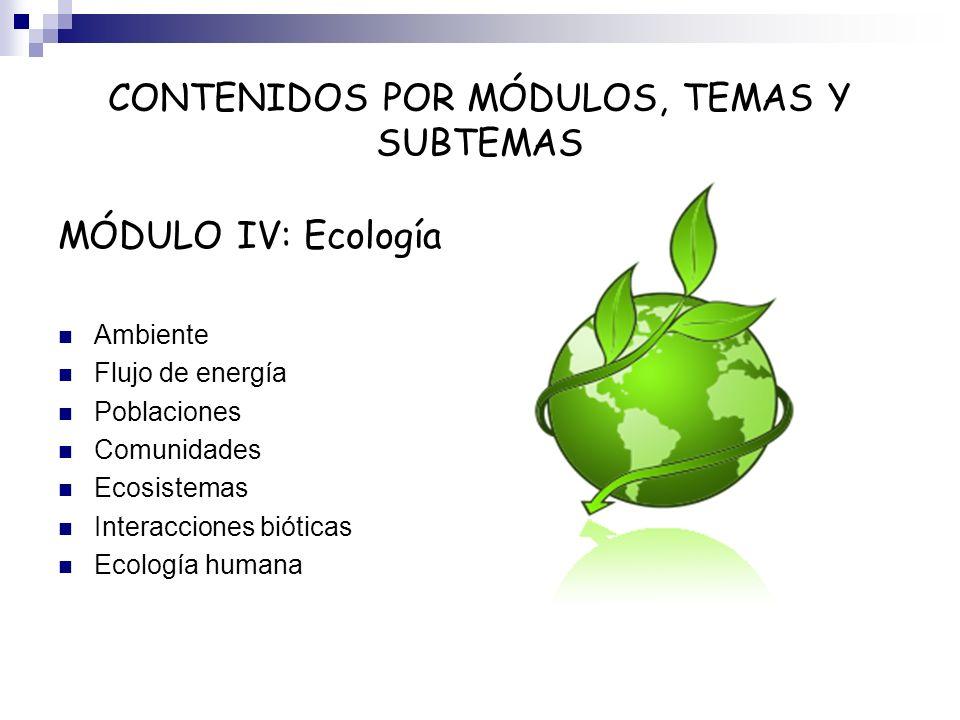 CONTENIDOS POR MÓDULOS, TEMAS Y SUBTEMAS MÓDULO IV: Ecología Ambiente Flujo de energía Poblaciones Comunidades Ecosistemas Interacciones bióticas Ecol