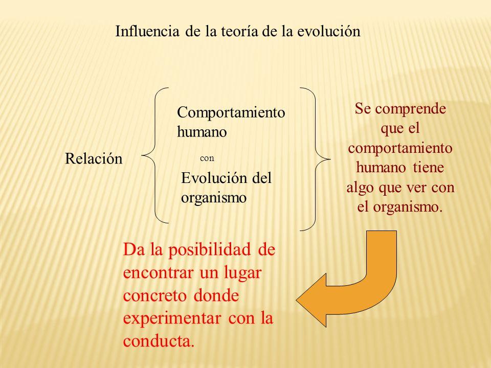 Influencia de la teoría de la evolución Relación Comportamiento humano Evolución del organismo con Se comprende que el comportamiento humano tiene alg